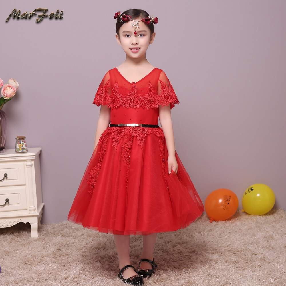 Marfoli Flower Girl Dress Wedding Pageant Kids Boutique Batwing sleeve 2017 Summer Princess Party Dresses Clothes ZT010 self tie waist batwing sleeve dress