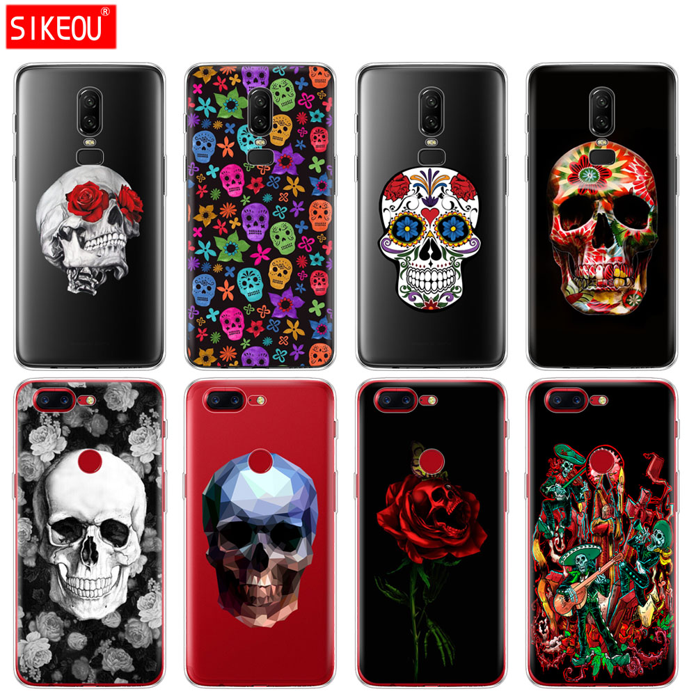 silicone cover phone case for <font><b>Oneplus</b></font> one plus 6 5T <font><b>5</b></font> 3 A3000 <font><b>A5000</b></font> soft tpu Cute Flower Skull pattern transparent coque image