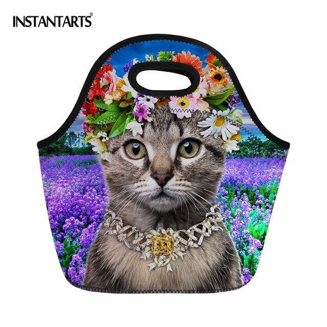 INSTANTARTS Outdoor Camping Picnic Bags 3D Animal Print Food Storage Box Hiking Travel Thermal Insulation Tote Handbag for Girls