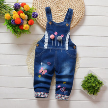 DIIMUU Infant Toddler Baby Girls Overalls Clothing Bow-knot Printing Jeans Pants Denim Cotton Casual Trousers  Suspender Pants