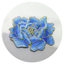1pc high quality peony flower embroidery patches Sew on embroidered parches appliques for clothing para la ropa