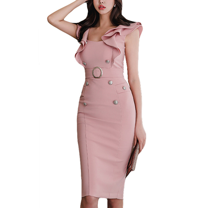 Vestidos Elegant Pink Ruffle Sleeveless Women Slim Prom Party Dresses Summer 2018 Bodycon Formal Dress