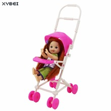 2 Items/Lot = 1x Mini Furniture High Chair + 1x Pink Assembly Baby Stroller Accessories For Barbie Kelly Size Doll 1 : 12 Puppet