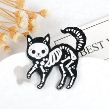 Броши в виде кошки и булавки стиле панк белые черные цвета Новое
