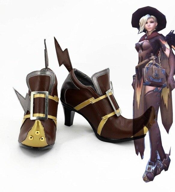 DÜŞÜK Cosplay Ayakkabı DÜŞÜK Angela Ziegler Cosplay Çizmeler Ayakkabı Kostüm Angela Ziegler Cadı Cilt Bot Ayakkabı