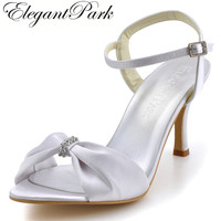 2013 Fashion Woman High Heel Shoes EP2103 Open Toe Rhinestone Ankle Strap Stiletto Heel Satin Wedding