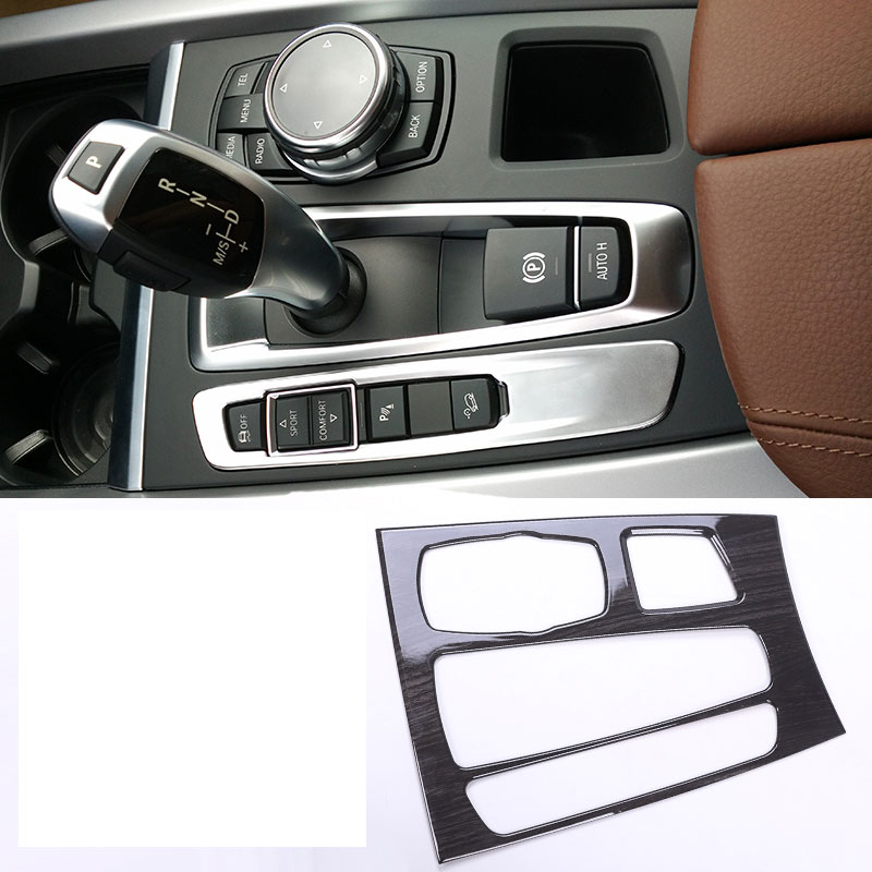 For BMW X5 X6 F15 F16 2015 2017 ABS Dark Wood Grain Interior Mouldings Center Gear