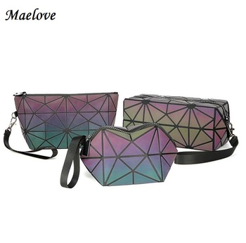 Maelove 2018 New women's Geometry bag  Mini Cpin Purse Small make-up bag fashion Luminous bag Free Shipping