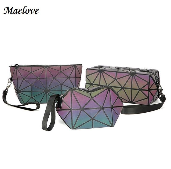 Maelove 2018 New women's Geometry bag Mini Cpin Purse Small make-up bag fashion Luminous bag Free Shipping
