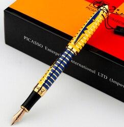 Перьевая ручка Picasso ps-81 ps-81 10k золотые перьевые ручки синий золотой серебряный черный пимио Вальс цветов