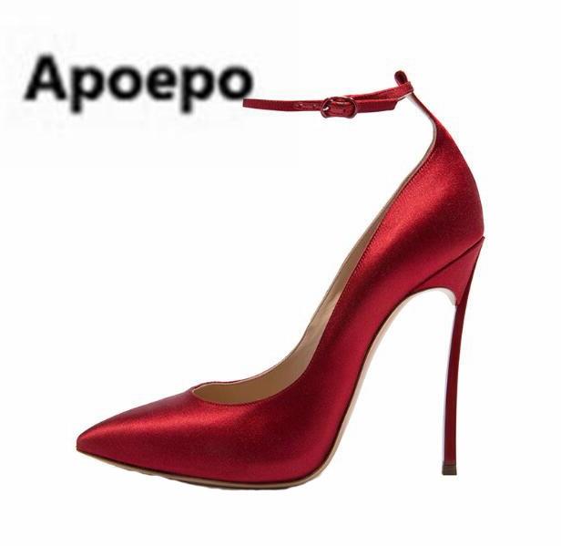 Apoepo brand 2018 red black Satin pumps women pointed toe sexy extreme high heels pumps ankle strap 12 cm plus size 43 stiletto apoepo brand 2017 zapatos mujer black and red shoes women peep toe pumps sexy high heels shoes women s platform pumps size 43