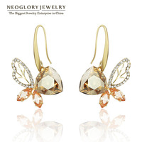 Neoglory Austrian Crystal Butterfly Light Yellow Gold Color Brinco aaa Zircon Dangle Earrings for Women 2017 New Hot Romantic QC