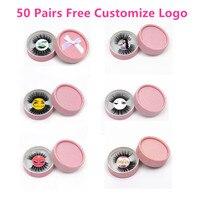 50 pairs 10styles individual mink lashes 3D eyelashes natural long invisible thin band stage free customize logo circle rose box