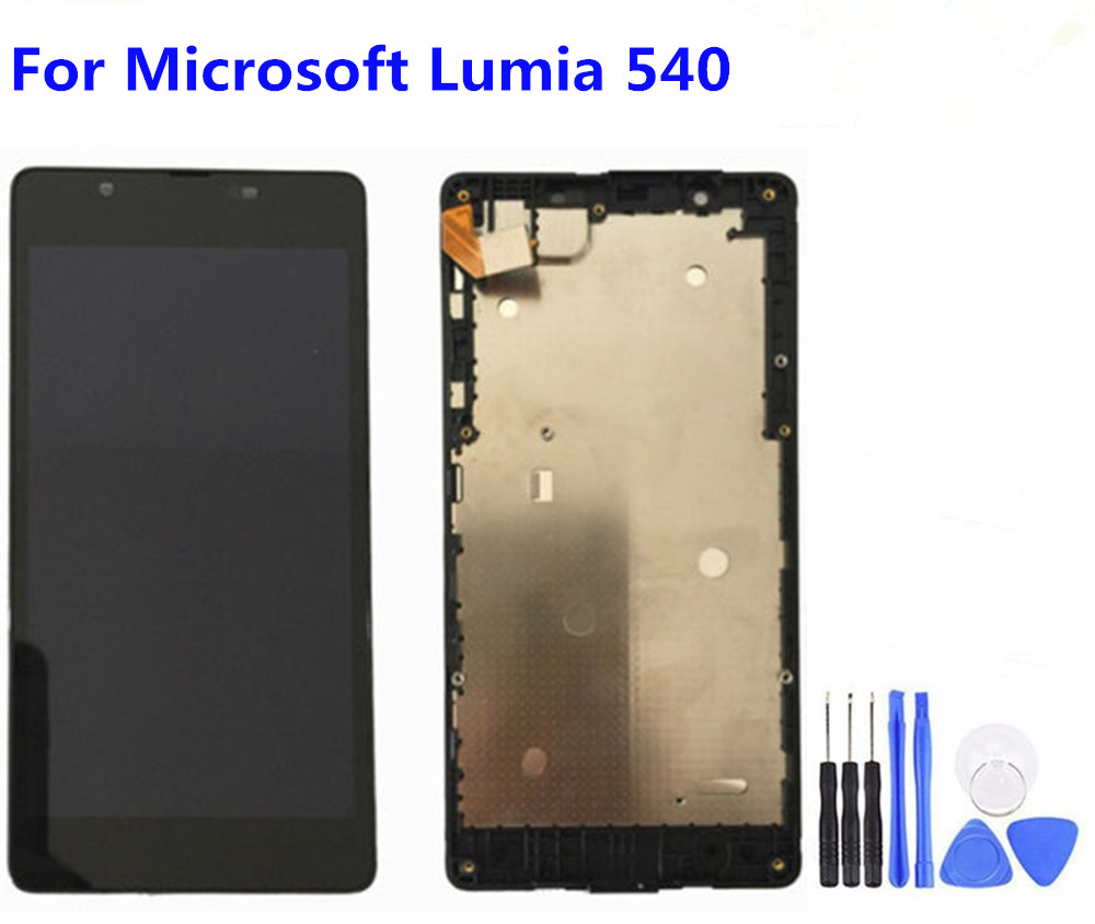 5 inch Black LCD Display Touch <font><b>Screen</b></font> Digitizer Assembly With Frame <font><b>Replacement</b></font> Part For <font><b>Microsoft</b></font> Nokia <font><b>Lumia</b></font> <font><b>540</b></font> image