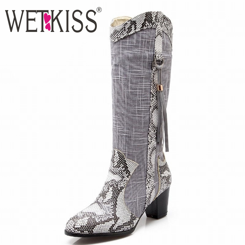 ФОТО WETKISS Snake Prints Patch Color Western Style Tassel Half Knee Boots High Heels Spring Autumn Winter Boots Warm Winter Shoes