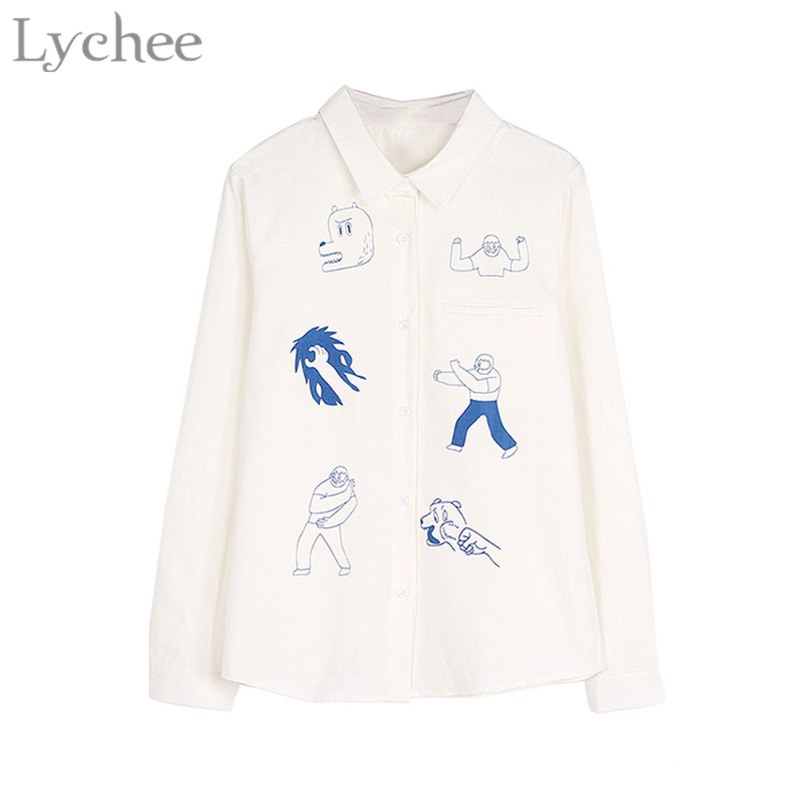 Lychee Preppy Style Spring Women Blouse Cartoon Character Print Long Sleeve Cute Casual Loose Shirt