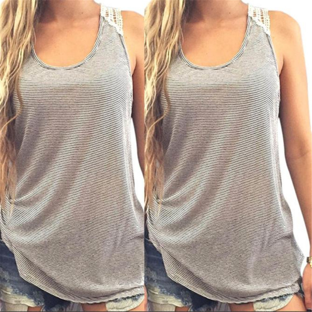 2018 Fashion Women Summer Sexy Lace Decoration Cotton Blend Vest Round Neck Sleeveless Casual Solid   Tank     Tops   Droship 10Jul 11