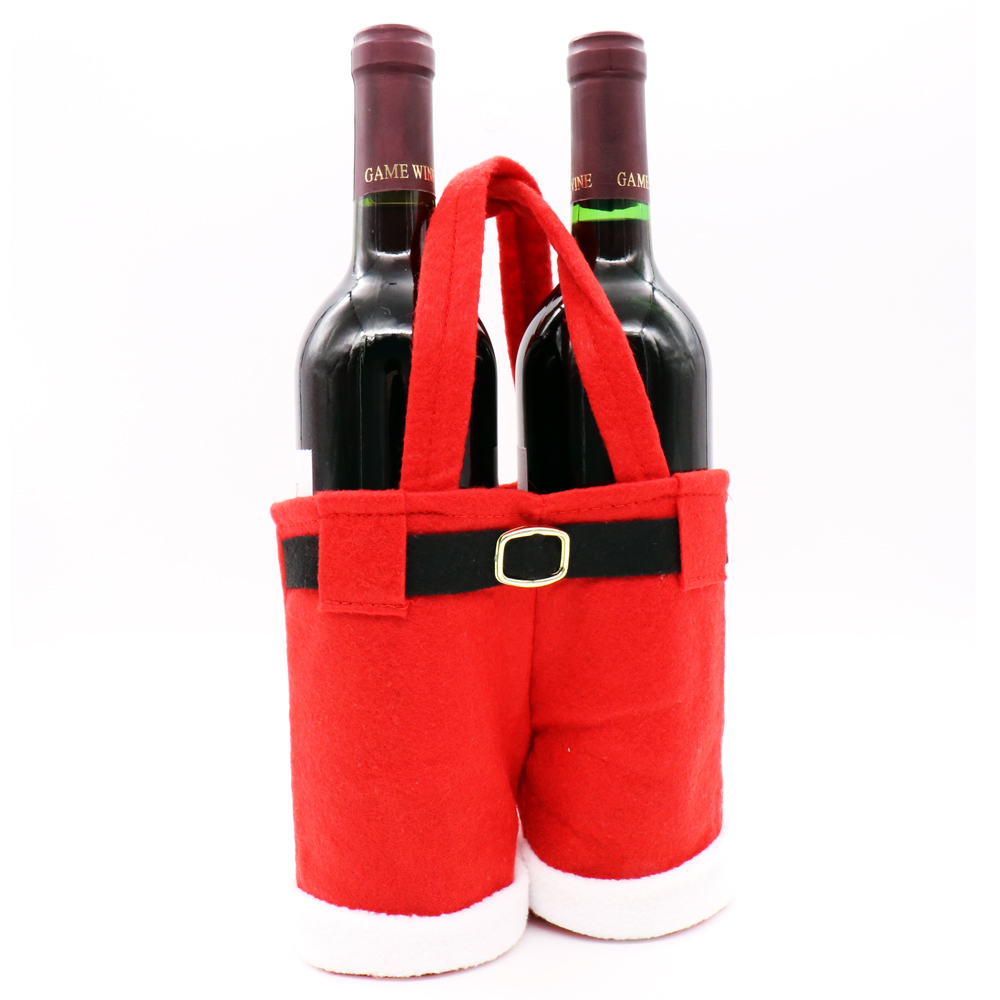 Cute Merry Christmas Wine Bottle Bag Candy chocolate Santa Pants ...