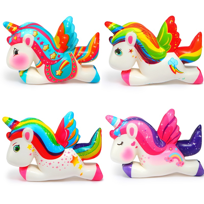 Kawaii Pegasus Unicorn Squishy PU Squishy Slow Rising Scented Bread Squeeze Toys Simulation Craft Decor Xmas Kids Gift 11*8*3CM цены