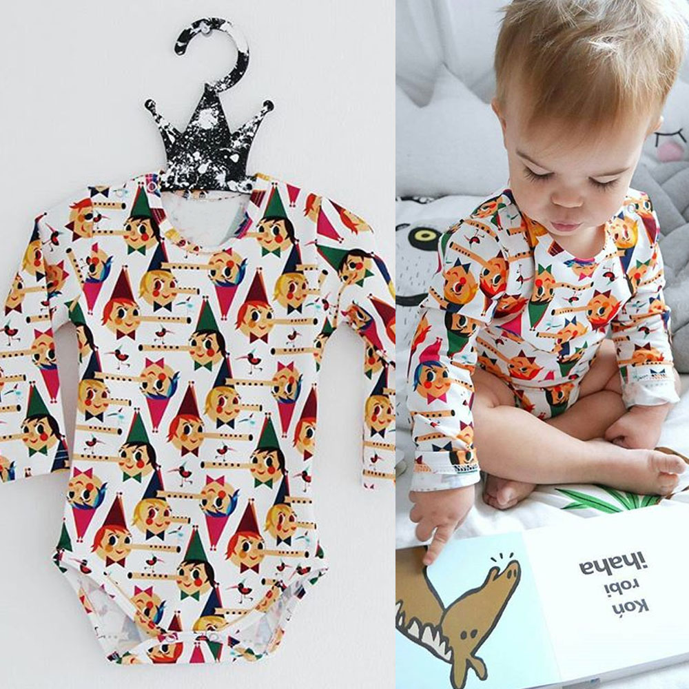 Baby Girl Bodysuit 2018 Tiny Cottons Autumn Cartoon Clown Print Jumpsuit Newborn Boy Clothes Long Sleeve Baby Onesie Cothing