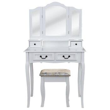 3 กระจก 4 ลิ้นชักโต๊ะเครื่องแป้ง Tocador Penteadeira Dresser บ้านเฟอร์นิเจอร์ห้องนอนสีขาวแต่งหน้าโต๊ะสตูล ...