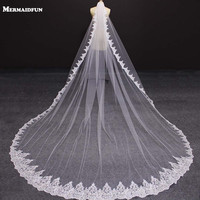 2017 New One Layer 4 Meters Bling Sequins Lace Edge Wedding Veils With Comb White Ivory