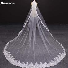Роскошный длинный кружевной вуаль с расческой, 4 метра