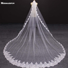 New One Layer 4 Meters Bling Sequins Lace Edge Luxury Long Wedding Veils with Comb High Quality White Ivory Bridal Veil