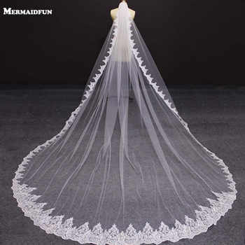 New One Layer 4 Meters Bling Sequins Lace Edge Luxury Long Wedding Veils with Comb High Quality White Ivory Bridal Veil 2019 - DISCOUNT ITEM  20% OFF All Category