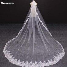 Nieuwe Laag 4 Meter Bling Pailletten Lace Edge Luxe Lange Bruiloft Sluiers Met Kam Hoge Kwaliteit Wit Ivoor Bridal sluier