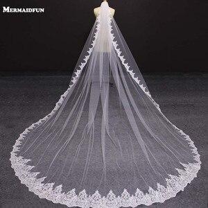 Image 1 - Nova uma camada 4 metros bling lantejoulas borda do laço de luxo longo véus casamento com pente alta qualidade branco marfim véu nupcial