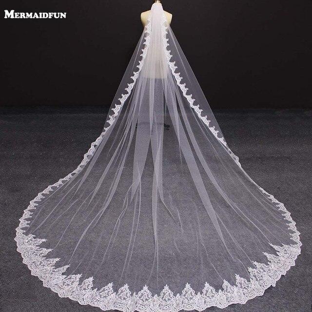 Nova uma camada 4 metros bling lantejoulas borda do laço de luxo longo véus casamento com pente alta qualidade branco marfim véu nupcial