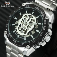 FORSINING Fashion Halloween Skeleton Watches for Men Top Brand Luxury Automatic Mechanical Wristwatches Skull Luminous Clock
