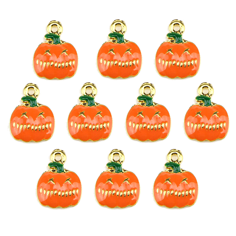 10pcs Halloween Pumpkin Beads Enamel Charms Pendant Diy Jewelry Findings Commodities Are Available Without Restriction Home & Garden