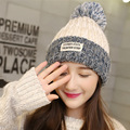 Warm Autumn Winter Knitting Wool Hat Lovely Women Fluffy Pom-pom Gorros Frosted Color Threads Caps Beanies with Label Patch