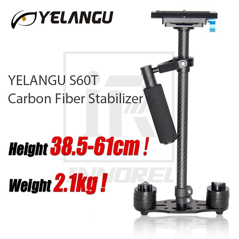 YELANGU S60T Fiber De Carbone Steadicam Poche Stabilisateur 38.5-61 cm Hauteur 2.1 kg Poids CNC technologie + oxydation Anodique