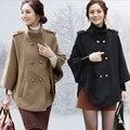 Новое прибытие осень зима женщины шерстяной Плащ Куртка модный бренд Двубортный платок мыса пальто