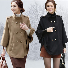 new arrival autumn winter women woolen Cloak Jacket fashion brand Double Breasted shawl cape coat