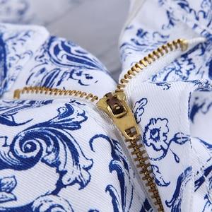 Image 3 - Sokotoo גברים של אופנה כחול ולבן פורצלן דפוס הדפסת ג ינס Slim למתוח ינס מכנסי עיפרון ארוך מכנסיים