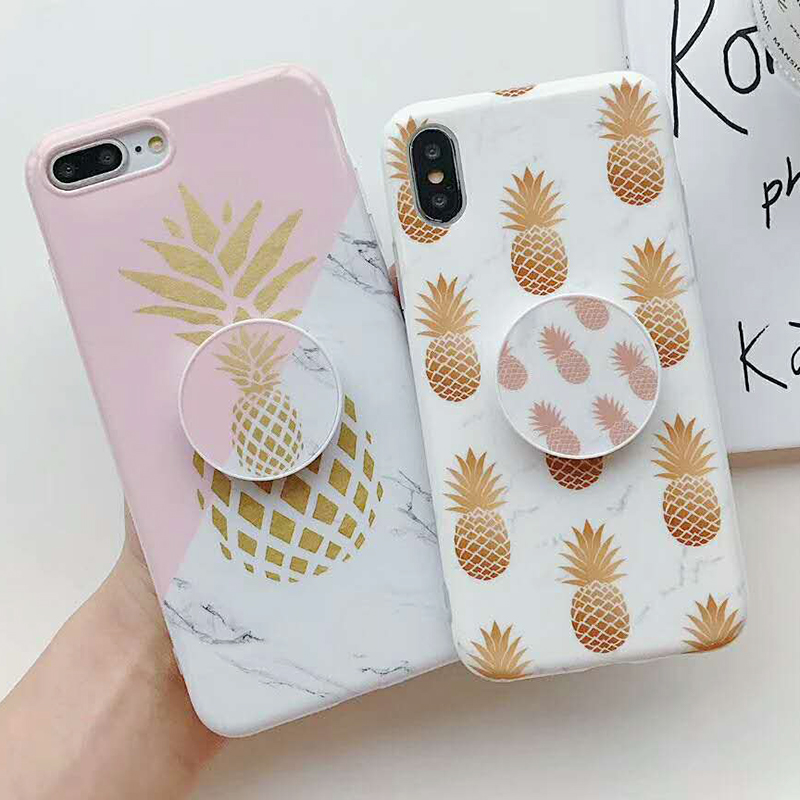 Bracket Gold Pineapple Phone Cases For iPhone XS Max XR XS 6 6S 7 8 Plus X Soft IMD Marble Texture Phone Back Cover Coque Gift (2)