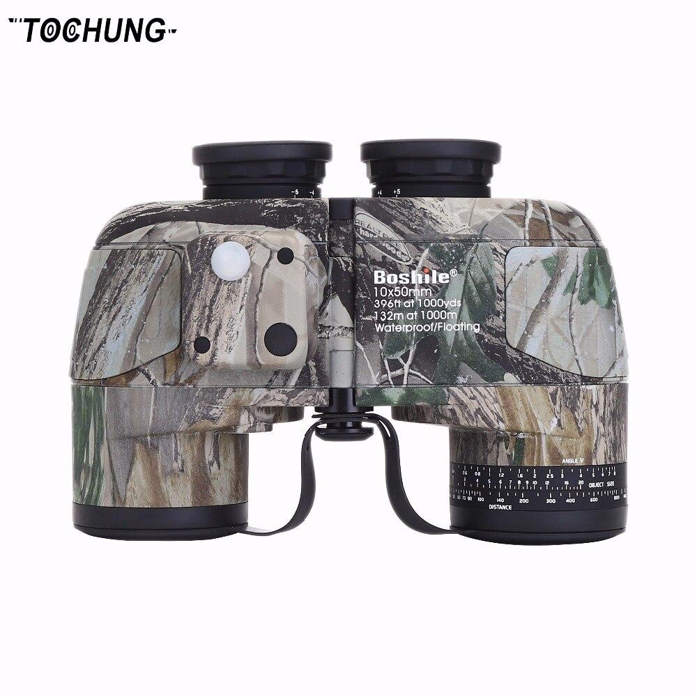 TOCHUNG binoculars 10x50 professional military marine waterproof compass telescope HD bak4 rangefinder wide angle binoculars