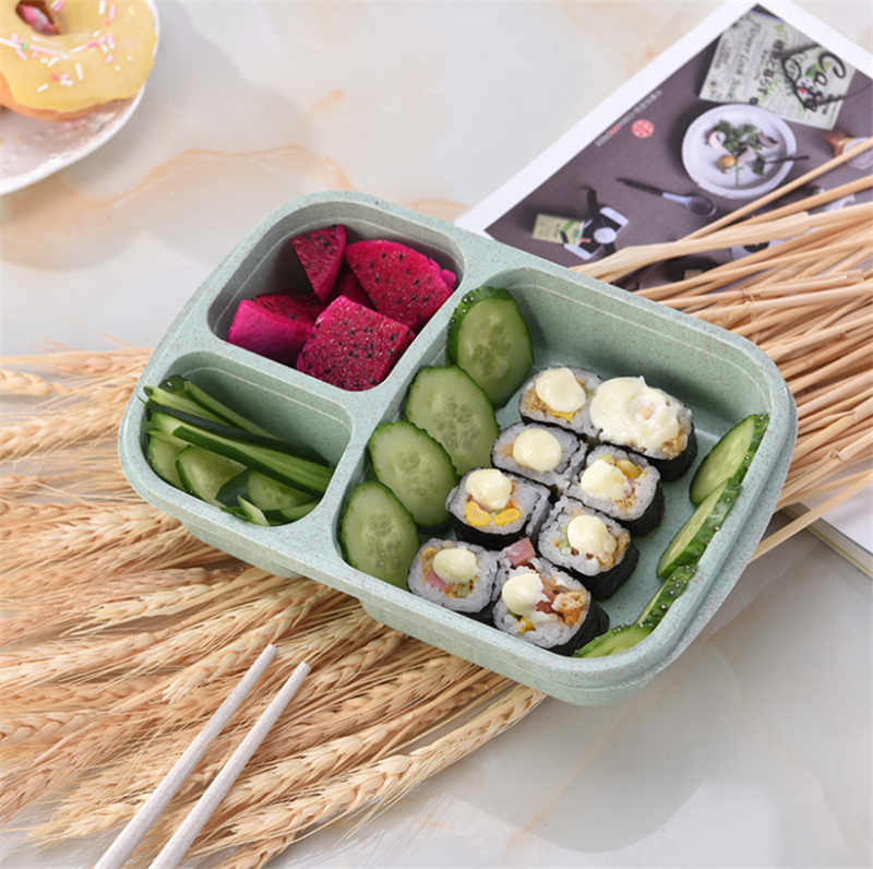 900ml Healthy Material Lunch Box 3 Layer Wheat Straw Bento Boxes Microwave Dinnerware Food Storage Container Lunch box