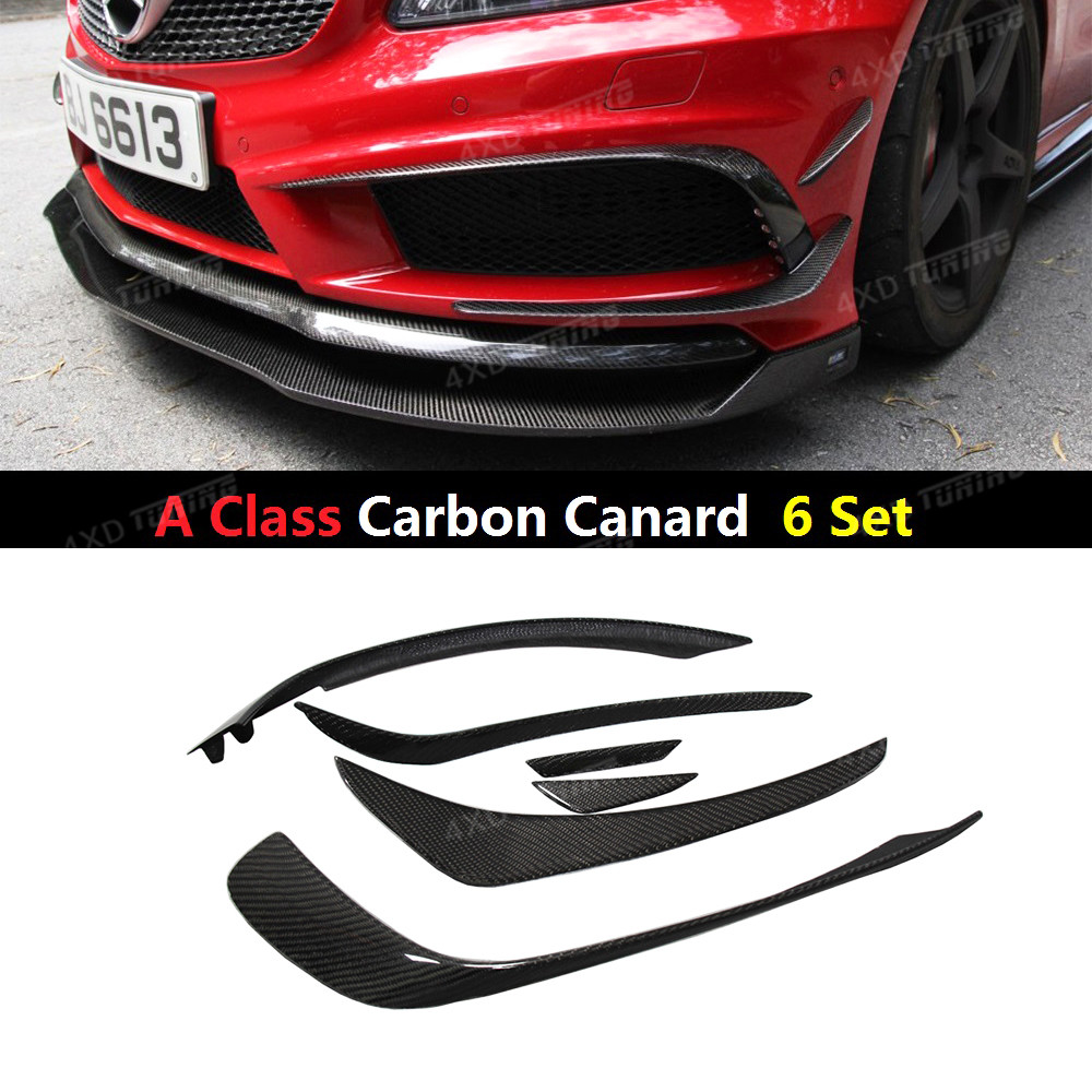 For Mercedes A Class W176 A45 AMG A260 Carbon Fiber Front Bumper Canard Splitter 6 Pie/Set Add On Style 2012 2013 2014 2015 mercedes w176 carbon fiber rear bumper canards for benz a class a45 amg package 2012 rear air dam trimming
