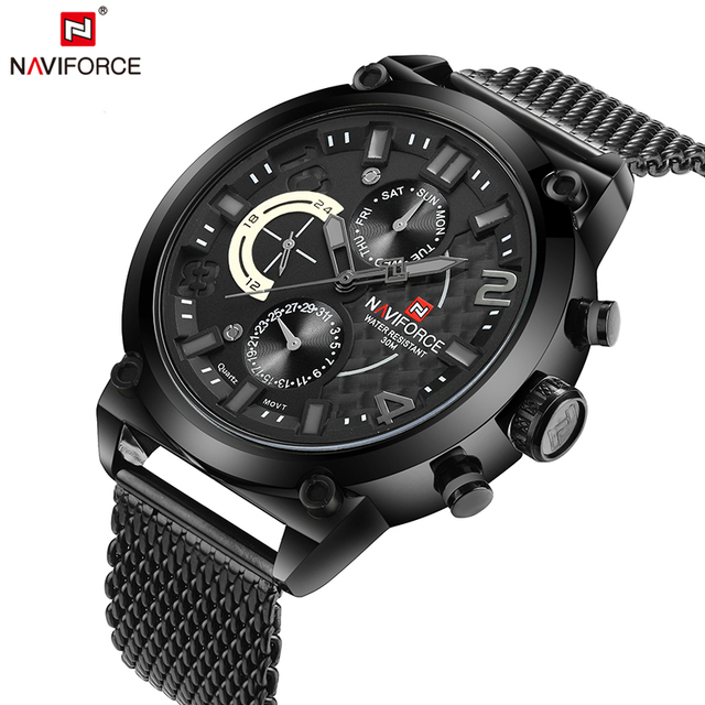 NAVIFORCE Original Luxury Brand Stainless Steel Quartz Watch Men Calendar Clock Sports Military WristWatch Relogio Masculino