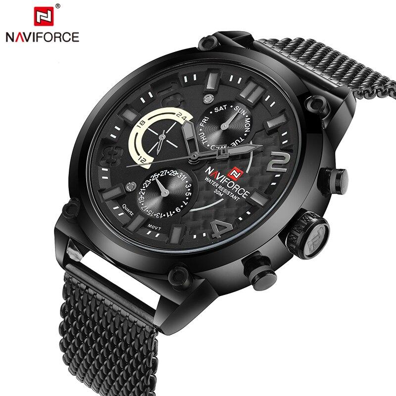 71decbeddff NAVIFORCE Original Marca de Luxo Relógio de Quartzo Homens Calendário de  Aço Inoxidável Relógio do Esporte