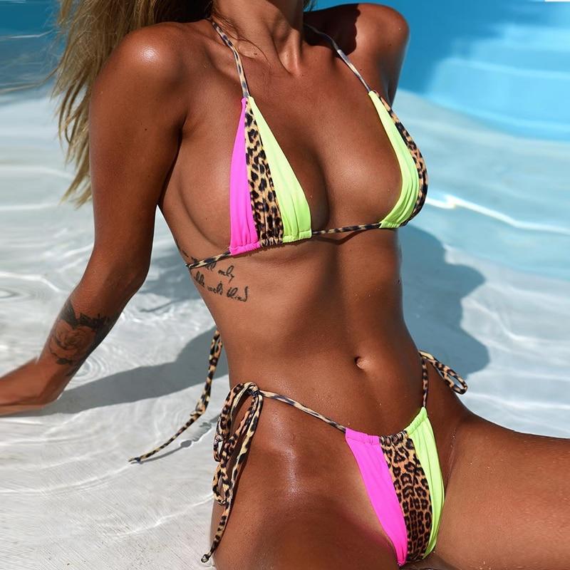 Peachtan Halter leopard bikini 2020 ladies swimwear women Sexy swimsuit Female bathing suit Summer beach wear Micro bikini set 3