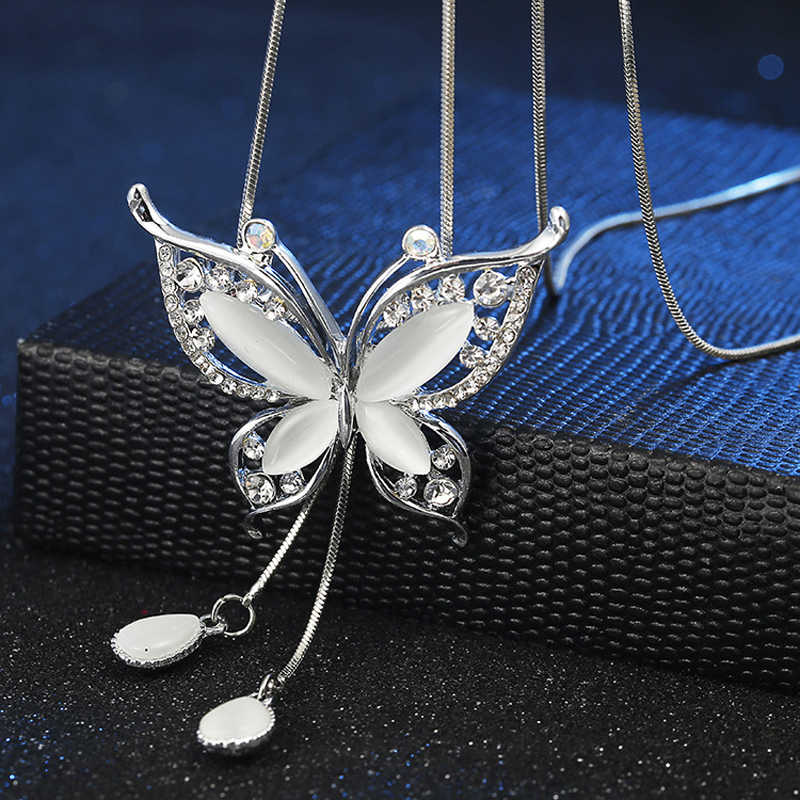 F&U Fashion Rhinestone Butterfly Pendant Long Necklace Female Winter Sweater Chain All-match Accessories Fine For Woman Gift