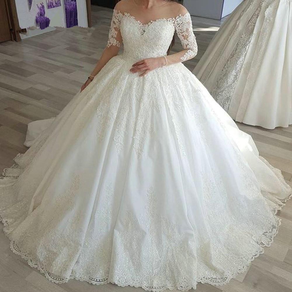 New Vestido de Noiva 2019 Wedding Dresses Appliques Lace Beaded Long Sleeves Puffy Wedding Gown Bridal Dress Robe De Marie