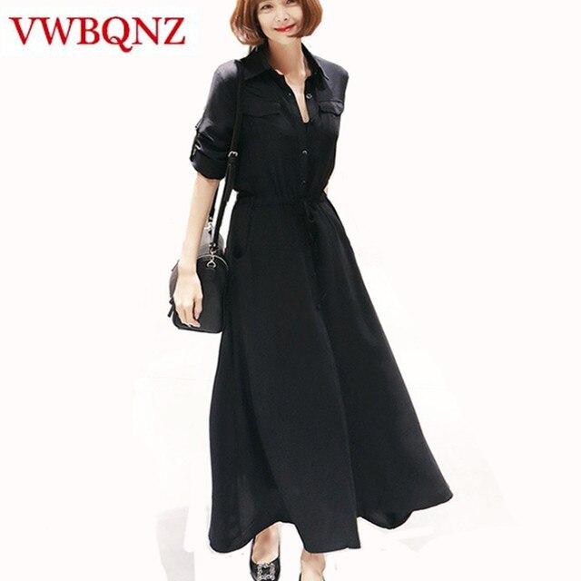 38d83a25be916 Siyah Uzun kollu Gömlek Elbise Kadın Giyim İlkbahar Yaz Sonbahar Yeni  Elegance Mizaç İnce Uzun Gömlek