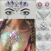цена на 3D Temporary Rhinestone Glitter Tattoo Stickers Face Jewels Gems Festival Party Makeup Body Jewels Flash Fake Party Ornaments